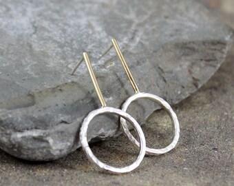 14K Yellow Gold and Sterling Silver Drop Earrings - Rustic Earring - Pendulum Style Pierced Earrings - Mixed Metal Earring - Stud Earrings