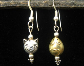 Mixed Metal Earrings have STERLING Cat & BRASS Mouse.  ALL Metal is Sterling Except for Brass Mouse.  Clever Playful Pair.