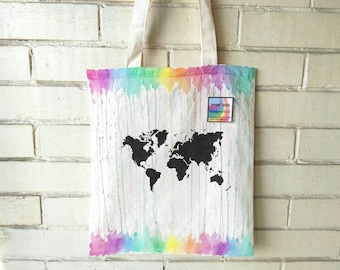 World map tote bag etsy rainbow watercolor world map bag cotton tote canvas bag shopper hand painted boho wanderlust gumiabroncs Choice Image