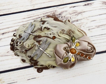 Handcrafted Neutral Dragonfly Steampunk Hair Clip - Brown Taupe Beige - Dragonfly Wedding Hair - Fancy Feather Hair Clip - Dragonfly Bride
