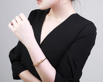 Gold Bangle, Gold Cuff, Minimalist Cuff, Slip on Cuff, Minimal Cuff, Friendship Bangle, Bridesmaid Cuff