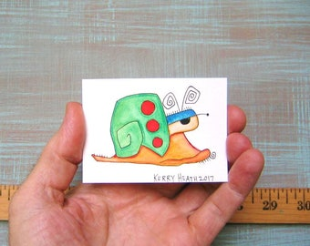 Snail-J59, Original ACEO Watercolor, Art Card, Miniature Painting, by Fig Jam Studio