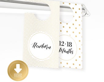 INSTANT DOWNLOAD - Gold Baby Closet Dividers - Baby Clothes Divider - Closet Organizer - Baby Shower Gift