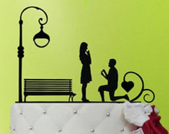 Proposal Park Bench engagement acrylic cake topper