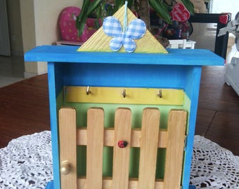 Father's day-key storage with hand painted wooden wall hanging