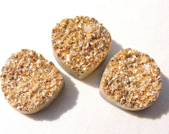 3 Pieces Very Beautiful Natural Golden Coated Druzy Heart Shaped Beads Size 18X18 MM