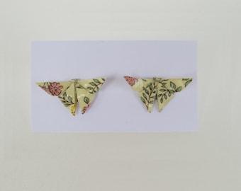 Boucles d'oreilles puces papillon origami papier italien à fleurs