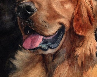 Golden Retriever dog art Giclee Print of my watercolor painting