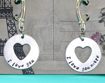 I Love You and I Love You More Key Chain Pair - Disc Heart Cut Out - Hand Stamped Key Ring - Gift for Couples