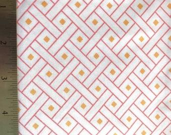 Dear Stella Basketweave Fabric, Dear Stella Mimosa Collection, Pink Cotton Fabric, Orange Quilt Fabric, Geometric Fabric, 1/2 Yard Fabric