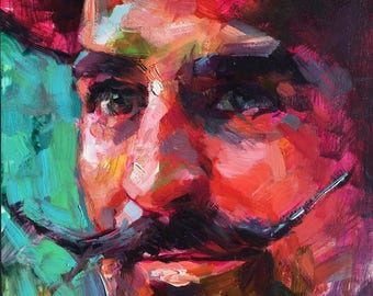 Colorful Portrait Painting Man with Mustache