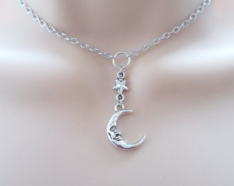 silver moon choker necklace - silver choker - moon and star necklace - gift for her