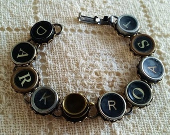 Dark Roast Typewriter Key Bracelet, Antique Typewriter Jewelry, Upcycled Steampunk, Coffee Jewelry, Bronze Coffee Cup, Coffee Lover Gift