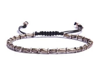 Silver Bead bracelet for Men - Silver tubes beaded mens bracelet - Men's Jewelry - One size fits all bracelet - Faux leather - Gift for Men