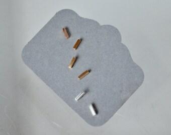 Set of Three Stud Earrings, Stick Earrings, Bar Earrings, Stud Earrings, 4mm Bar Earrings, Gold Filled Earrings, Rose Gold Filled Earrings