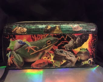 Frog & toad decoupaged wallet
