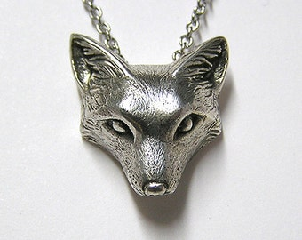 "Fox Necklace Pendant Fox Charm Woodland Snow Fox on 20"" inchm Metal Chain, Sterling Silver .925"