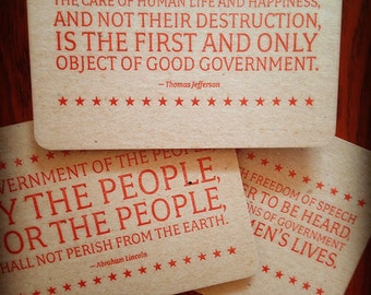 Letterpress postcards.  Set of 3 // chipboard //  Quotes from Jefferson, Lincoln and Kennedy. Write your representative today.