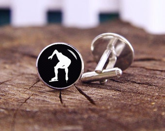 Speed Skating Cufflinks, Speed Skater Cuff Links, Custom Silhouette Cuff Links, Custom Wedding Cufflinks, Groom Cufflinks, Tie Clips Or Set