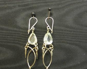 SALE Pierced dangling silver & clear beads