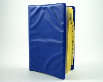 Small Memo Book, Alphabet Tabbed Dividers, Narrow Ruled Filler Paper, 40 Extra Refill Sheets, Royal Blue Cover, Vintage Mini Six Ring Binder