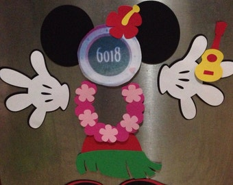 hula minnie mouse stateroom cruise door laminated magnet