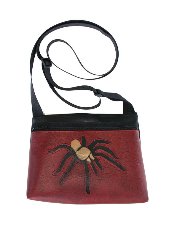 Tarantula, dark red vinyl, boxy cross body, vegan leather, zipper top