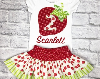 Girl Green and Red Strawberry Outfit
