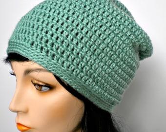 Beanie Hat Slouchy Green Sage Crochet