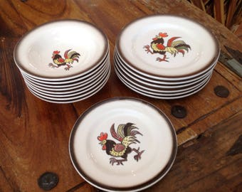 Vintage set  of California pottery Poppytrail Metlox rooster dishes