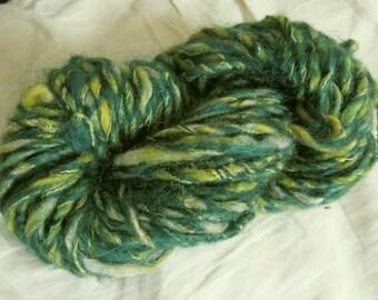 Green Tweedy Handspun Yarn 29 yards merino wool plyed with cotton thread yellow highlights