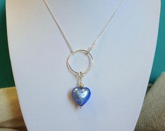 """""""Charms"""" blue Sapphire Pendant in Murano glass and silver"""