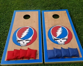 Grateful Dead Custom Cornhole Boards with a Set of Bags - Handpainted Art - Steal Your Face