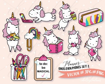 Planner Unicorn Clip Art Set, DIY Planner Stickers Designs, Vector Clipart Graphics, Cute, Kawaii Commercial Use, Chibi Unicorns, Stationery