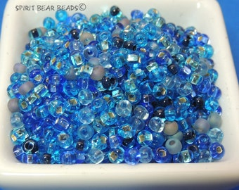 Still Waters Run Deep Sapphire blue mix size 6 Czech glass Seed beads 50 grams Loose