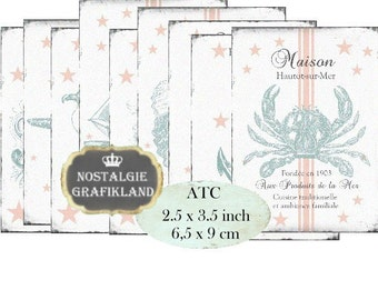 Maritim World Labels ATC Instant Download digital collage sheet S100 anchor seashell seahorse