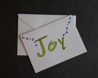 Joy Greeting Card w/ Envelope -- Blank Inside -- White or Ivory Paper