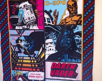 Star Wars R2D2, C-3PO, Boba Fett, Darth Vader Fabric Panel