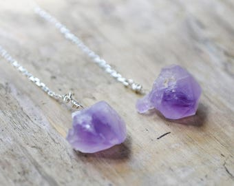 raw amethyst earrings /// purple amethyst threader earrings in sterling silver - long skinny rough gemstone earrings /// february birthstone