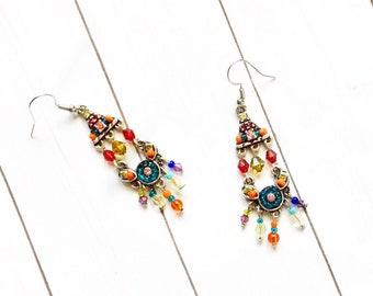 Gemstone Chandelier Dangle Earrings  Colorful Earrings   Multi-Color Earrings   Chandelier Earrings