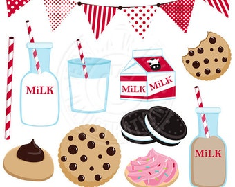 Milk & Cookies Cute Digital Clip Art - Commercial Use OK - Chocolate Milk Graphics, Cookies and Milk Clipart, Milk Carton, Cookies Clipart