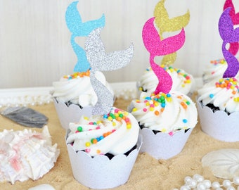 Glitter Mermaid Tail Cupcake Toppers - Sets of 12, 24, 30, 36, etc Colors include gold, silver, hot pink, purple, light blue, and many more!