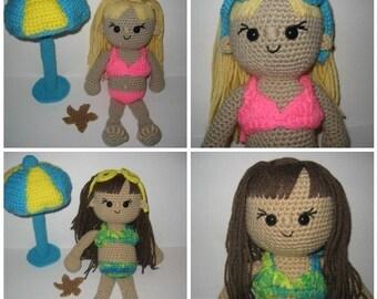 Summer The Beach Babe Amigurumi Crochet Pattern