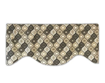 Arabesque Geometric Valance in Black and Beige