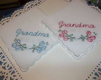 grandma hanky, wedding handkerchief, lady gift, hand embroidered, tulip design, nannie gift, grandmother hankie, satin edged hanky, favor