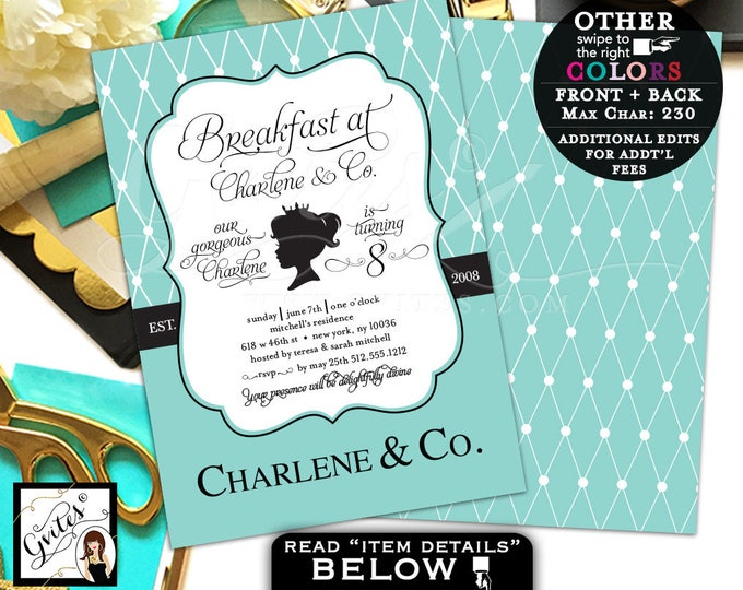 Baby and Co first birthday invitation, 8th birthday princess 1st, digital file 5x7 double sided. Gvites