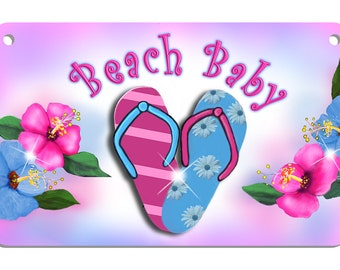 Flip Flops Sandals Bicycle License Plate Personalized Gifts Girls Boys Teens Ladies Any Name Or Text Hibiscus Pink Blue Soft Pastel Colors