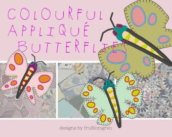 COLOURFUL APPLIQUE BUTTERFLIES, 3 different designs in each 3 sizes, fit the 4 x 4 and 5 x 7 hoops, Versatile Machine Embroidery Designs