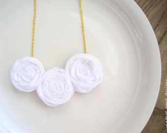 White Rosette Statement Necklace, Bib Necklace,Rosette Necklace, Rosette Statement Necklace,Bridesmaid Necklaces,Choose YOUR COLORS,Bridal