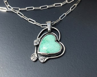 Turquoise Heart Necklace, Hand Fabricated Sterling Silver and Light Green Stone, Nature Lover Gift, Leaf Design
